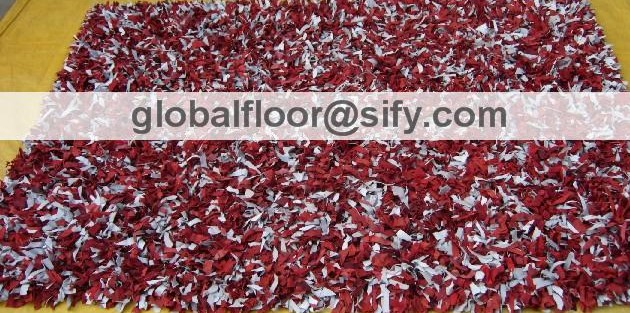 Leather Shag Area Rugs leather shag area rug, red-white mix leather shaggy rug, leather
