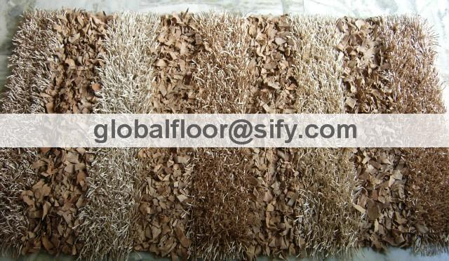 Gff-4274 leather shaggy rug-thick polyester mix-beige