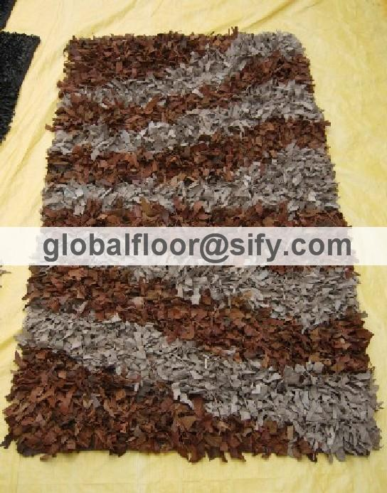 Gff-4295 leather shaggy rugs